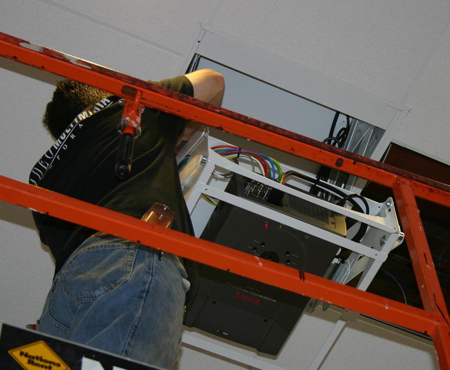 Nick installing Projector