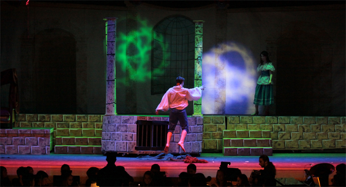 A lighting setup of a play